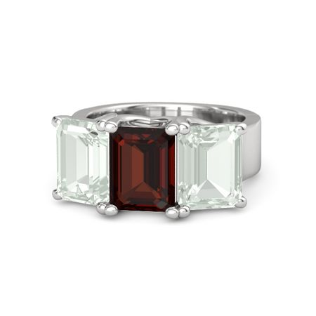 Blaze Ring - Emerald Red Garnet Sterling Silver Ring with Green Amethyst