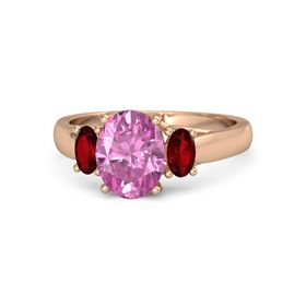 Oval Pink Sapphire 14K Rose Gold Ring with Ruby