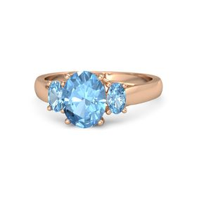 Oval Blue Topaz 14K Rose Gold Ring with Blue Topaz