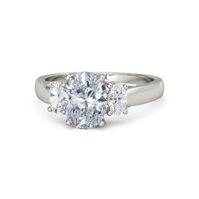 Oval Diamond 14K White Gold Ring with White Sapphire