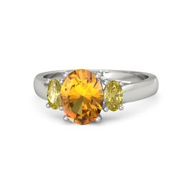 Oval Citrine 14K White Gold Ring with Yellow Sapphire