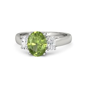 Oval Peridot 14K White Gold Ring with White Sapphire