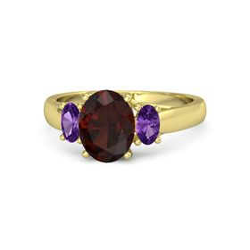 Oval Red Garnet 14K Yellow Gold Ring with Amethyst