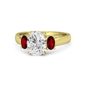 Oval White Sapphire 14K Yellow Gold Ring with Ruby