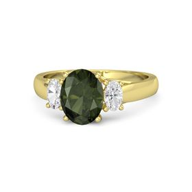 Oval Green Tourmaline 14K Yellow Gold Ring with White Sapphire