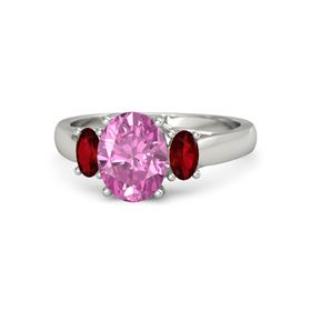 Oval Pink Sapphire Palladium Ring with Ruby