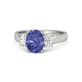 Oval Tanzanite Platinum Ring with White Sapphire