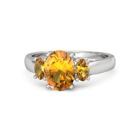 Oval Citrine Sterling Silver Ring with Citrine