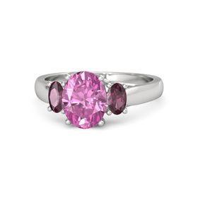 Oval Pink Sapphire Sterling Silver Ring with Rhodolite Garnet
