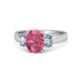 Oval Pink Tourmaline Sterling Silver Ring with Aquamarine