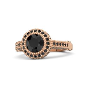Round Black Diamond 14K Rose Gold Ring with White Sapphire and Black Diamond