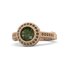 Round Green Tourmaline 14K Rose Gold Ring with Alexandrite & Green Tourmaline