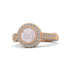 Round Rose Quartz 14K Rose Gold Ring with London Blue Topaz and Blue Topaz