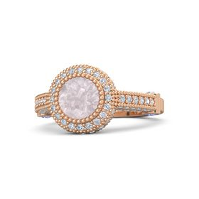 Round Rose Quartz 14K Rose Gold Ring with Iolite and Diamond