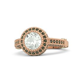 Round Green Amethyst 14K Rose Gold Ring with Peridot & Green Tourmaline