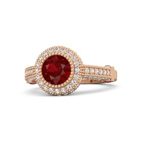 Round Ruby 14K Rose Gold Ring with Ruby & White Sapphire