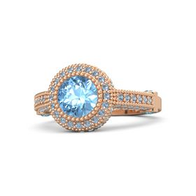 Round Blue Topaz 14K Rose Gold Ring with London Blue Topaz and Blue Topaz