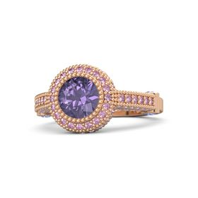 Round Iolite 14K Rose Gold Ring with Iolite and Pink Sapphire