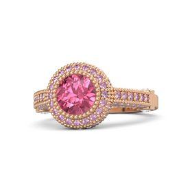 Round Pink Tourmaline 14K Rose Gold Ring with White Sapphire & Pink Sapphire