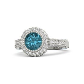 Round London Blue Topaz 14K White Gold Ring with Aquamarine and White Sapphire