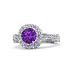 Round Amethyst 14K White Gold Ring with White Sapphire & Tanzanite