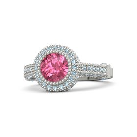 Round Pink Tourmaline 14K White Gold Ring with Blue Topaz & Aquamarine