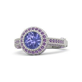 Round Tanzanite 14K White Gold Ring with Amethyst