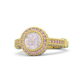 Round Rose Quartz 14K Yellow Gold Ring with London Blue Topaz and Pink Sapphire
