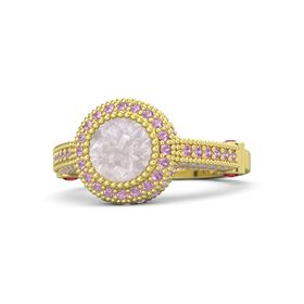 Round Rose Quartz 14K Yellow Gold Ring with Ruby and Pink Tourmaline