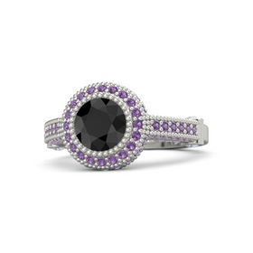 Round Black Diamond 18K White Gold Ring with Diamond and Amethyst