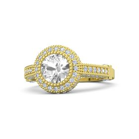 Round Rock Crystal 18K Yellow Gold Ring with Diamond