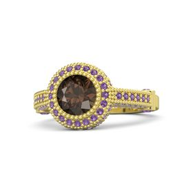 Round Smoky Quartz 18K Yellow Gold Ring with Amethyst