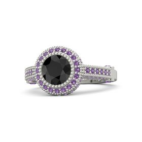 Round Black Diamond Platinum Ring with Amethyst