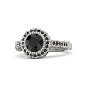 Round Black Diamond Platinum Ring with White Sapphire & Black Diamond