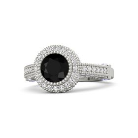 Round Black Onyx Platinum Ring with Tanzanite and White Sapphire