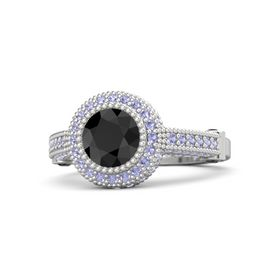 Round Black Diamond Sterling Silver Ring with Black Diamond & Tanzanite