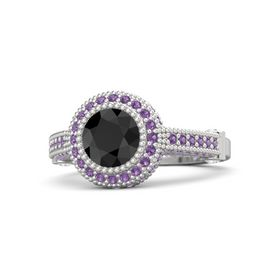 Round Black Diamond Sterling Silver Ring with White Sapphire and Amethyst