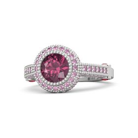 Round Rhodolite Garnet Sterling Silver Ring with Ruby & Pink Sapphire