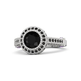Round Black Onyx Sterling Silver Ring with Amethyst & Black Diamond