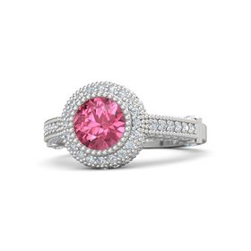Round Pink Tourmaline Sterling Silver Ring with Diamond