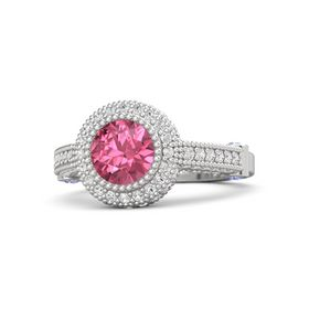 Round Pink Tourmaline Sterling Silver Ring with Iolite and White Sapphire
