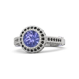 Round Tanzanite Sterling Silver Ring with Tanzanite & Black Diamond