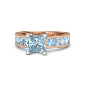 Princess Aquamarine 14K Rose Gold Ring with Diamond and Blue Topaz