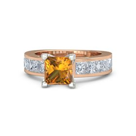 Princess Citrine 18K Rose Gold Ring with Diamond