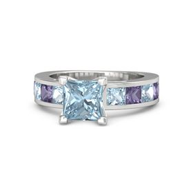 Princess Aquamarine Sterling Silver Ring with Iolite and Aquamarine