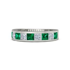 Platinum Ring with Emerald and Diamond