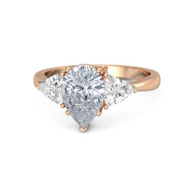 Pear Diamond 14K Rose Gold Ring with White Sapphire