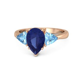 Pear Blue Sapphire 14K Rose Gold Ring with Blue Topaz