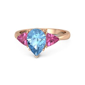 Pear Blue Topaz 14K Rose Gold Ring with Pink Tourmaline