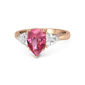 Pear Pink Tourmaline 14K Rose Gold Ring with White Sapphire